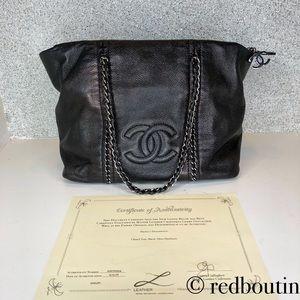 Chanel Luxe Ligne CC Chain Tote Black Shoulder Bag